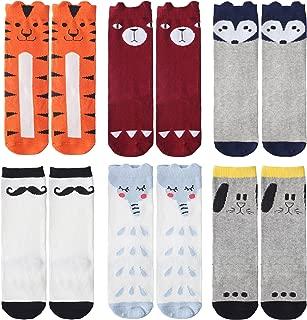 Kids Knee High Socks for Boys Girls 0-6 Years, 6 Pairs Boot Sock Animals