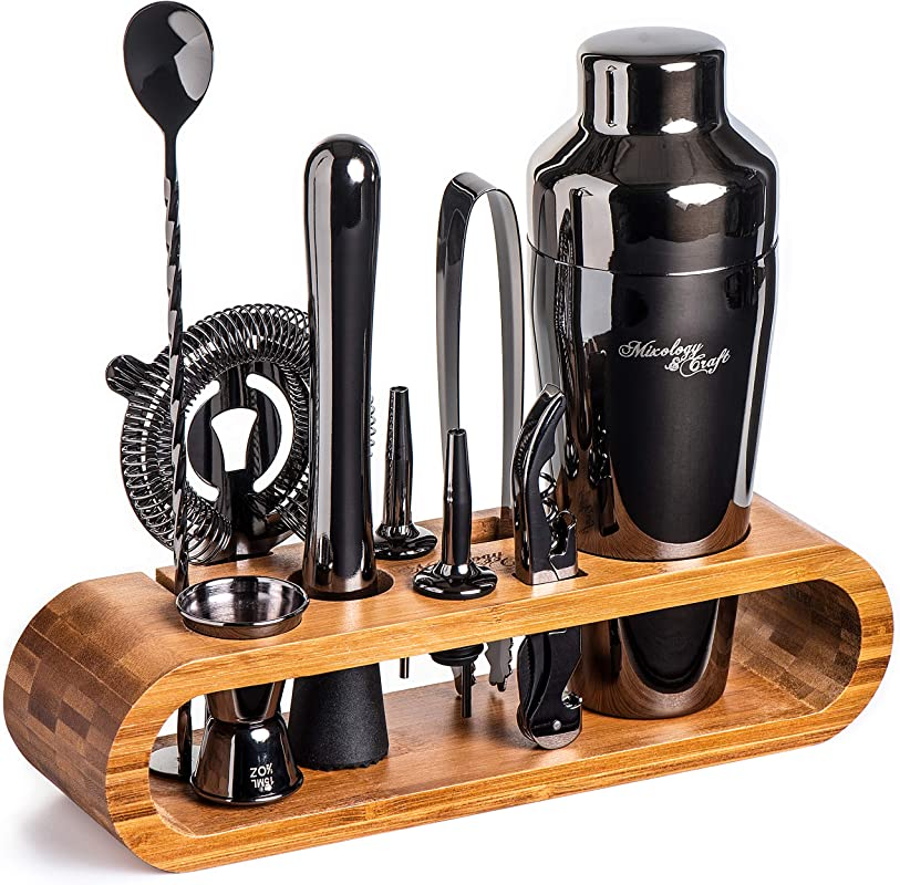 Mixology Bartender Kit 10 Piece Black Bar Set Cocktail Shaker Set With Stylish Bamboo Stand Perfect Home Bartending Kit With Gun Metal Bar Tools And Martini Shaker For Foolproof Drink Mixing