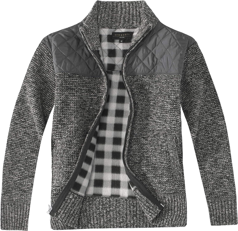 Gioberti Boy's Choice Knitted Full Zip with Sweater Brush Soft Cardigan Very popular