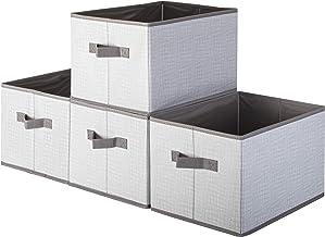 Pomatree Fabric Storage Bins - 4 Pack - Durable and Sturdy Storage Baskets | Large Foldable Storage Bin For Home, Nursery,...