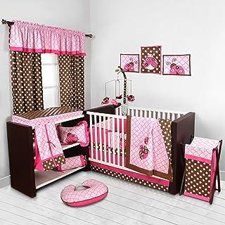 Bacati Ladybug Pink/Chocolate 10 Pc Crib Set with Bumperpad 100 Percent Cotton