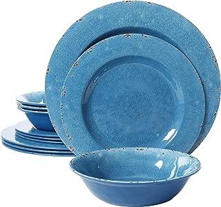 Gibson Studio 94893.12 Mauna 12 Piece Heavy Weight Melamine Dinnerware, Blue
