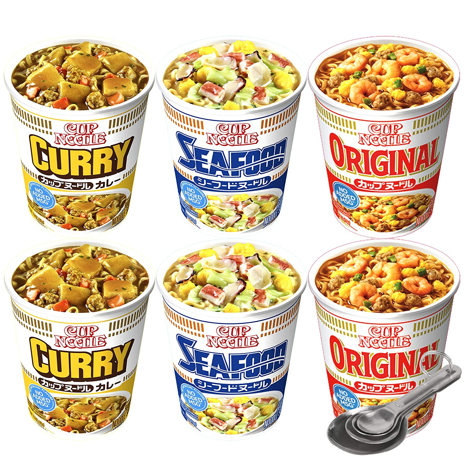 [PACK OF 6] [FREE MEASURING SPOON] JAPAN NISSIN CUP OF NOODLE MIX PACK (ORIGINAL, CURRY, SEAFOOD)
