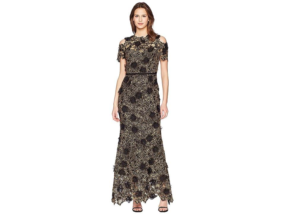 Marchesa Notte Cold Shoulder 3D Floral Giupure Lace Gown (Black) Women