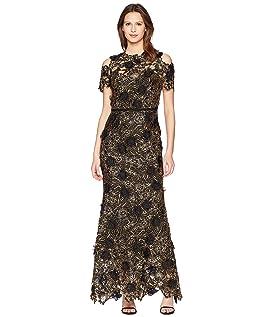 Cold Shoulder 3D Floral Giupure Lace Gown