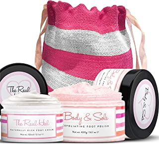 Foot Cream and Foot Scrub Set - Natural Foot Cream for Dry Cracked Feet - Himalayan Pink Salt Scrub - Spa Foot Moisturizer Heel Cream in a Cute Gift Pouch