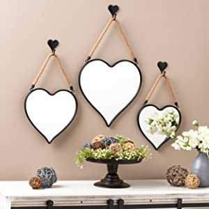 The Lakeside Collection Farmhouse Mirrors with Rope Hangers - Boho Wall Decor - Set of 3 - Heart