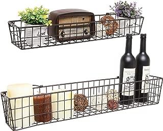 Set of 2 Brown Country Rustic Wall Mounted Openwork Metal Wire Storage Basket Shelves/Display Racks