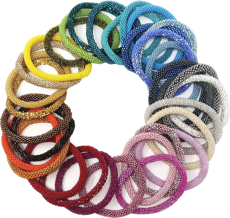 2 SET Nepal Glass Beaded bracelet crochet handmade bead bangle USA