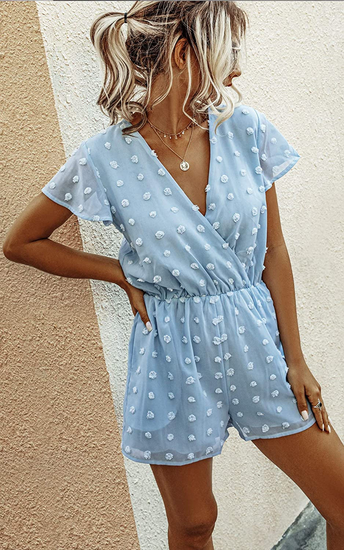 Angashion Women's Rompers-Summer Deep V Neck Wrap Floral Polka Dot Short Sleeve Beach Short Jumpsuit