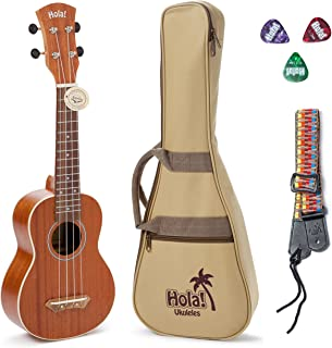Soprano Ukulele Bundle by Hola! Music, HM-121MG+ Deluxe Mahogany Series with Aquila Strings, Padded Gig Bag, Strap and Picks - Natural