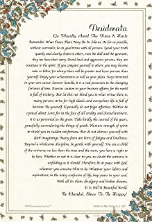 Desiderata Poem by Max Ehrmann. Gold Accent Florentine Medici Design on Archival Parchment Paper Imported from Florence Italy.