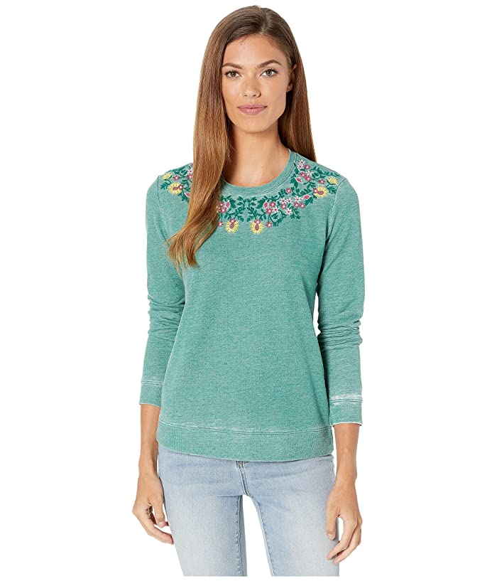 Lucky Brand  Embroidered Novelty Sweatshirt (Green Lake) Womens Clothing