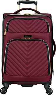 """Kenneth Cole Reaction Women's Chelsea Collection 20"""" Chevron Quilted Softside Expandable 4-Wheel Spinner Carry-On Suitcase, Burgundy"""
