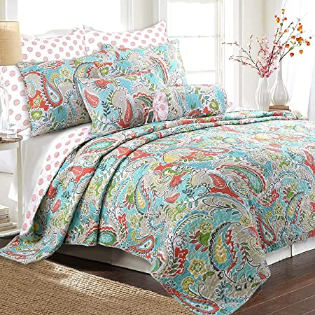 Cozy Line Home Fashions Reversible Quilt Bedding Set, Bedspread, Coverlet, 1 Quilt and 2 Pillow Shams (Mirage Paisley, Queen - 3 Piece)