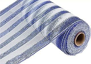 10 inch x 30 feet Deco Poly Mesh Ribbon - Royal Blue and White Striped Mesh