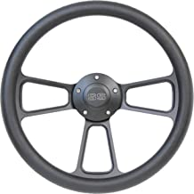 5-bolt Black Steering Wheel 14 Inch Aluminum with Black Vinyl Wrap and SS Horn Button