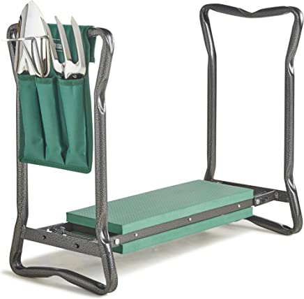 VonHaus Garden Kneeler/Seat with 3Pc Tool Set and Bag Included – Foldable Kneeling Stool, Trowel, Fork, Rake & Storage Pouch