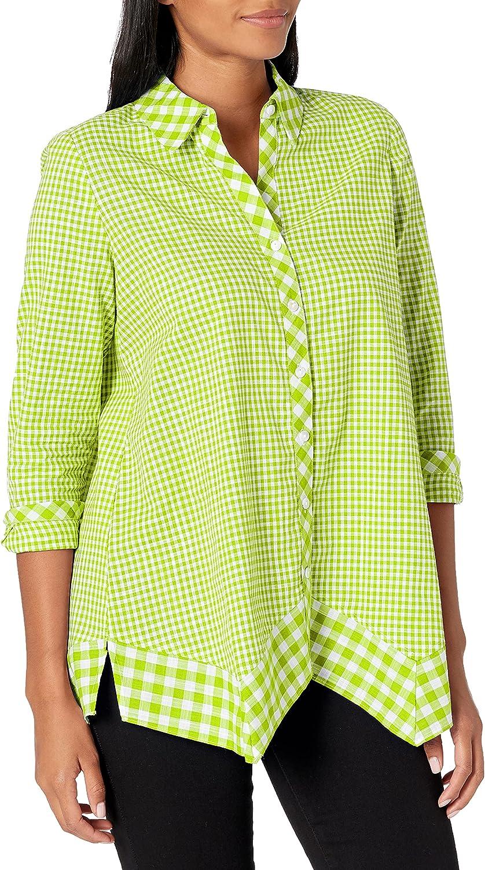 Rafaella Women's Mixed Gingham Print Long Sleeve Button-Down Shirt with Handkerchief Hem