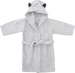 Natemia Ultra Soft Hooded Bathrobe for Babies and Toddlers - Highly Absorbent Rayon from Bamboo Robe for Kids 4-5T - Grey