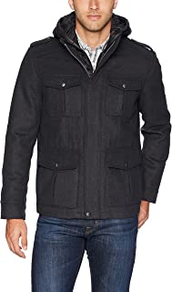 Dockers Men's The Grayson Wool Blend Hooded Military Jacket