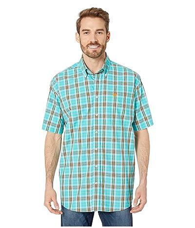 Cinch Short Sleeve Plaid (Turquoise) Men
