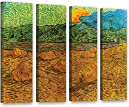 ArtWall 4 Piece Vincent Vangogh's Evening Landscape with Rising Moon Gallery Wrapped Canvas Artwork, 36