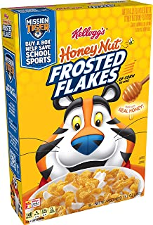 Kellogg's Frosted Flakes, Breakfast Cereal, Honey Nut, Made With Real Honey, 13.7oz Box(Pack of 6)