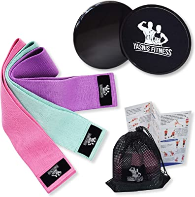 Yasnis Fitness Fabric Resistance Bands & Core Sliders Set | Non Slip Workout Bands & Sliding Discs | Hip, Legs, Butt Exercise Bands & Dual Sided core Sliders
