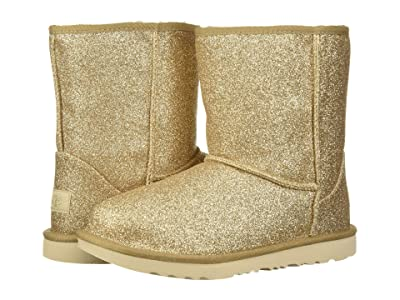 UGG Kids Classic Short II Glitter (Little Kid/Big Kid) (Gold 1) Girls Shoes