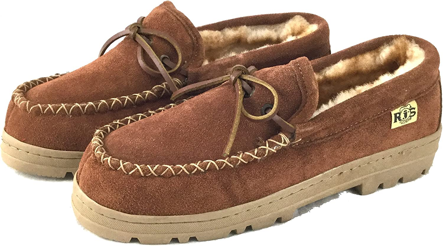 RJ's Fuzzies Mens Sheepskin Leather Lined Soft Sole Moccasins Brown