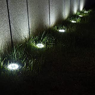 GIGALUMI 12 Pack Solar Ground Lights, 8 LED Solar Powered Disk Lights Outdoor Waterproof Garden Landscape Lighting for Yar...