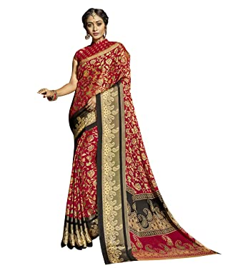 Viva N Diva Sarees for Women's Chiffon Brasso with Zari Woven Border Saree with Un-Stiched Blouse Piece,Free Size