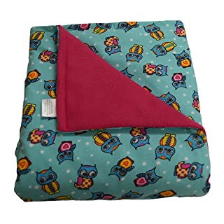 SENSORY GOODS Child - Deluxe - Made in America - Small Weighted Blanket 5lb Medium Pressure - Owls Pattern/Hot Pink - Fleece/Flannel (52
