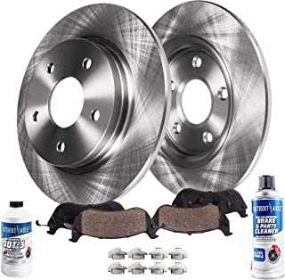Detroit Axle - Pair (2) Rear Disc Brake Rotors w/Ceramic Pads w/Hardware & Brake Cleaner & Fluid for 2001 2002 2003 2004 2005 2006 Acura MDX AWD - [2003-2008 Honda Pilot]