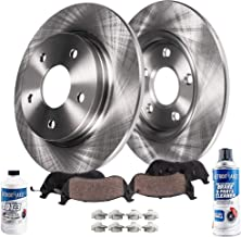 Detroit Axle - Pair (2) Rear Disc Brake Rotors w/Ceramic Pads w/Hardware & Brake Cleaner & Fluid for 2006-2010 Chevy Impala - [2006-2007 Chevy Monte Carlo] - 2008-2009 Buick LaCrosse V8