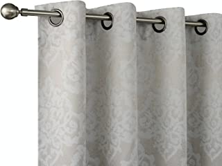 Regal Home Collections 2 Pack Premium Thermal Blackout Woven Jacquard Damask Curtain Panels for Bedrooms, Living Rooms & More - Assorted Colors (Light Gray/Silver)