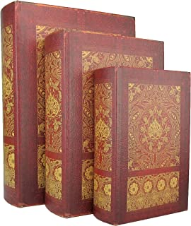 MagJo Home Beautifully Designed Wood Antique Book Box, Set of 3 (Shakespeare)