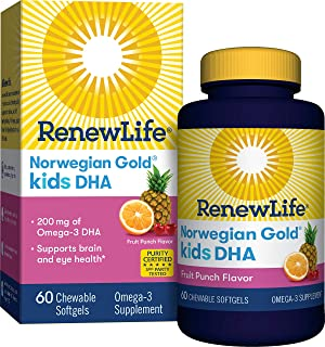 Renew Life Norwegian Gold Kids Fish Oil - Kids DHA, Fish Oil Omega-3 Supplement - Gluten & Dairy Free - 60 Chewable Softge...