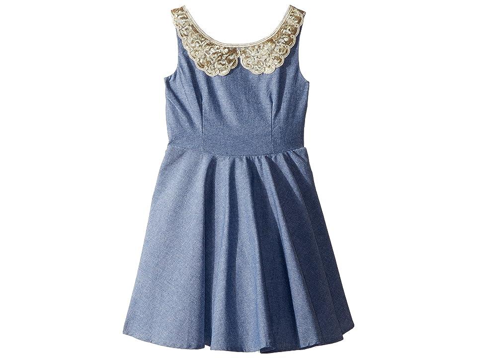 fiveloaves twofish Darcy Dress (Big Kids) (Denim) Girl