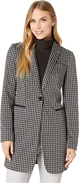 Houndstooth Long Sweatshirting Jacket