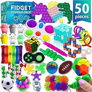 (50 عدد) Fidget Poppers Popit Toy Pack Push Pop Bubble Popping Set It Mini Pop It Fidget Package Figetget Spinners ، توپ های ضد تنش مکعب روبیک بی نهایت با اسباب بازی های حسی برای کودکان مبتلا به ADHD اوتیسم