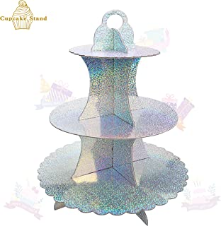 KAPOKKU 3 Tier Cupcake Stand Cupcake Stand Rainbow Cake Stand Cardboard Mini Dessert Stand Cupcake Tower for Party Baby Shower Birthday Wedding Party Supplies (Laser Rainbow stand cupcake holder)