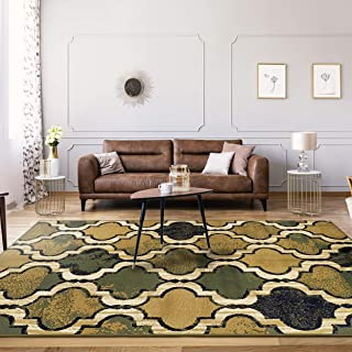 Superior Modern Viking Collection, 8mm Pile Height with Jute Backing, Geometric Trellis Pattern, Anti-Static Area Rugs - Green, 4' x 6' Rug