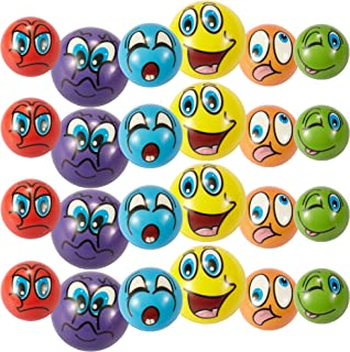 "Liberty Imports Set of 24 Emoji Face Foam Soft Stress Novelty Toy Balls (2.5"") - Assorted Colors"