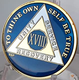 18 Year Midnight Blue AA Alcoholics Anonymous Medallion Chip Tri Plate Gold & Nickel Plated