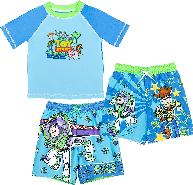 Disney Pixar Toy Story Boys 3 Piece Rash Guard Swim Trunks Set