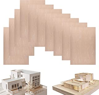 10 Pack Basswood Sheets 1/16 ×8×12 Inch, Thin Unfinished Plywood Wood Sheets for Craft DIY Project