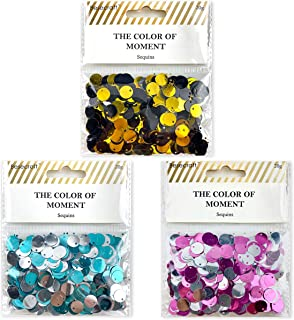Desecraft 10mm Loose Flat Sequins Top Hole Mixed 6 Colored 3 Packs 60 Grams for Craft Sewing Arts DIY Valentine Deco Embro...