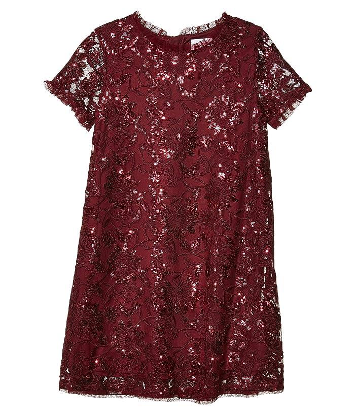 BCBG Girls  Short Sleeve Floral Embroidered Sequin Dress (Big Kids) (Cabernet) Girls Clothing